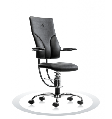 črn kromiran ortopedski stol
