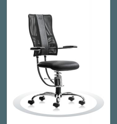 kromiran računalniški stol črne barve