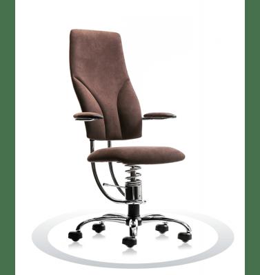 rjav kromiran pisarniški stol